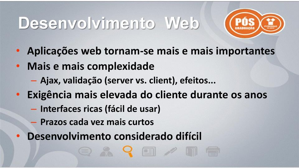 .. Exigência mais elevada do cliente durante os anos Interfaces ricas