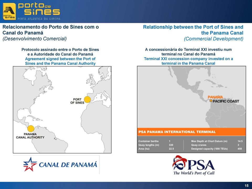 Relationship between the Port of Sines and the Panama Canal (Commercial Development) A concessionária do Terminal XXI