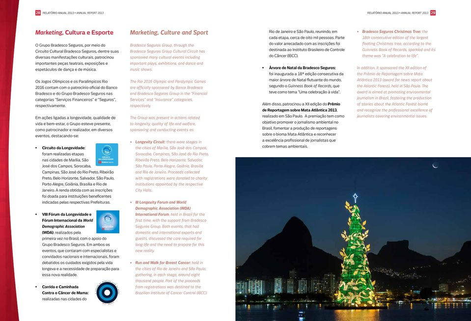 Parte Bradesco Seguros Christmas Tree: the 18th consecutive edition of the largest O Grupo Bradesco Seguros, por meio do Circuito Cultural Bradesco Seguros, dentre suas diversas manifestações