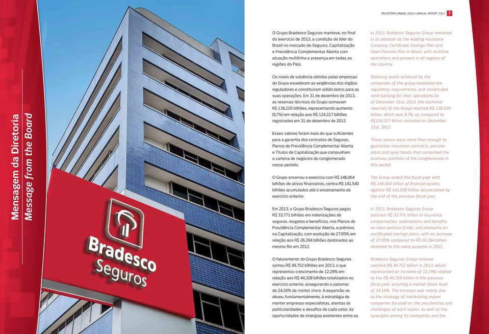 In 2013, Bradesco Seguros Group remained in its position as the leading Insurance Company, Certificate Savings Plan and Open Pension Plan in Brazil, with multiline operations and present in all