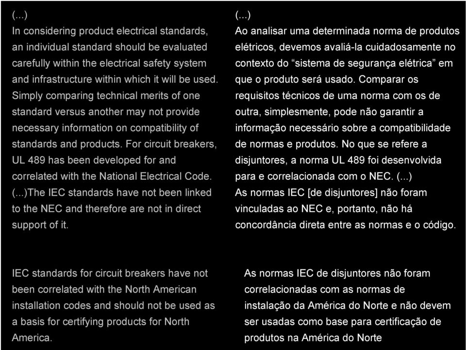 For circuit breakers, UL 489 has been developed for and correlated with the National Electrical Code. (.