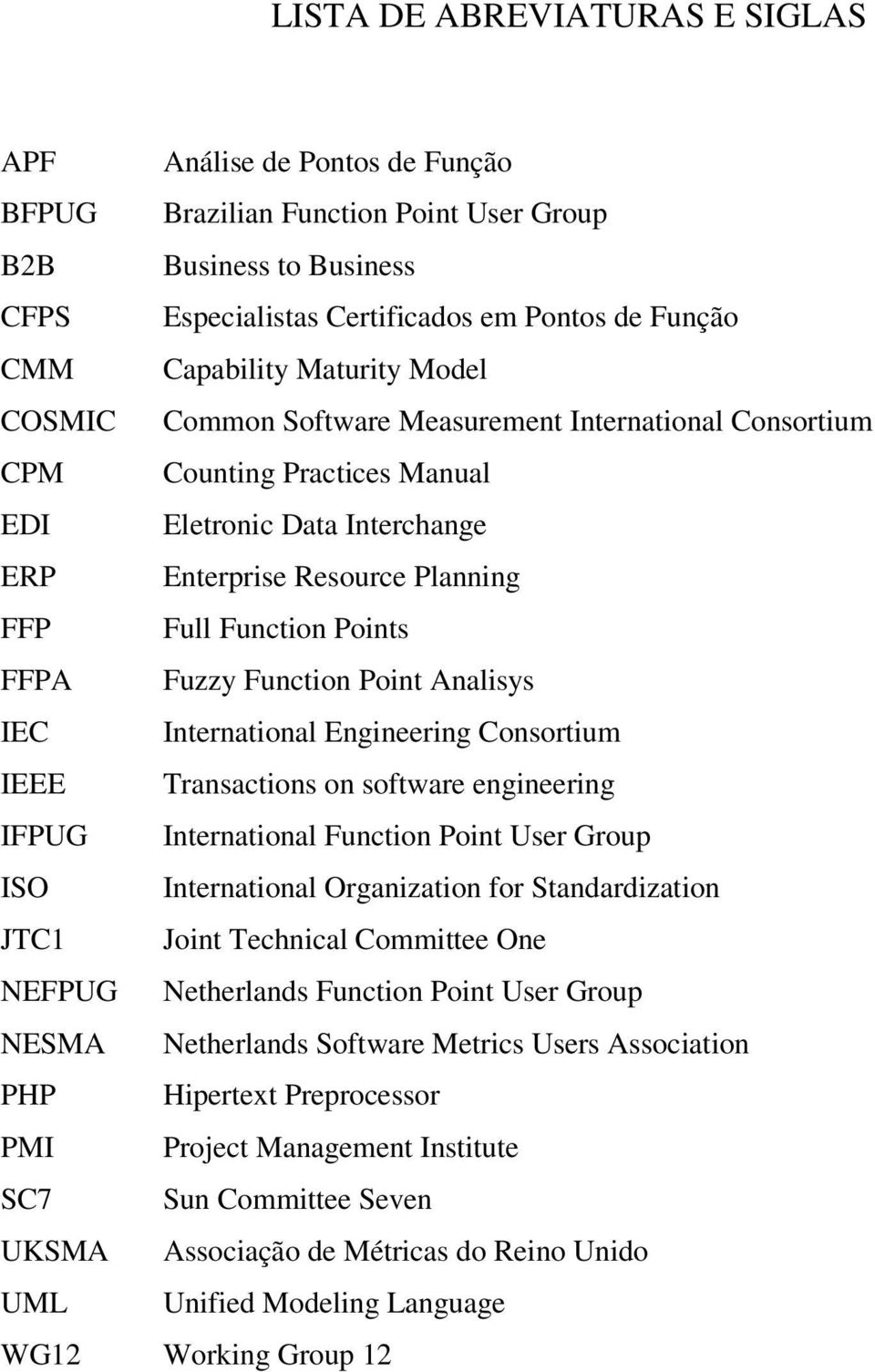 Fuzzy Function Point Analisys IEC International Engineering Consortium IEEE Transactions on software engineering IFPUG International Function Point User Group ISO International Organization for