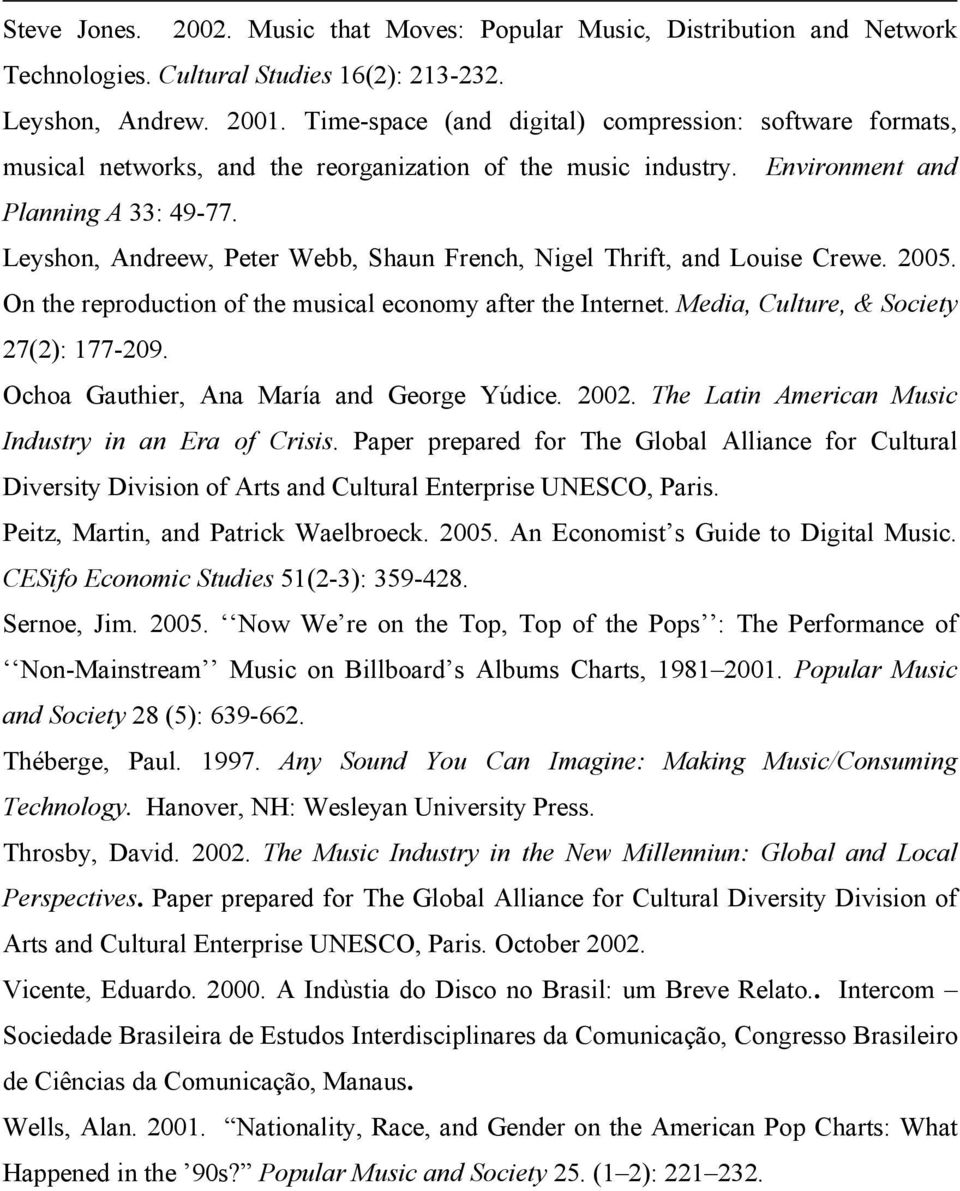 Leyshon, Andreew, Peter Webb, Shaun French, Nigel Thrift, and Louise Crewe. 2005. On the reproduction of the musical economy after the Internet. Media, Culture, & Society 27(2): 177-209.
