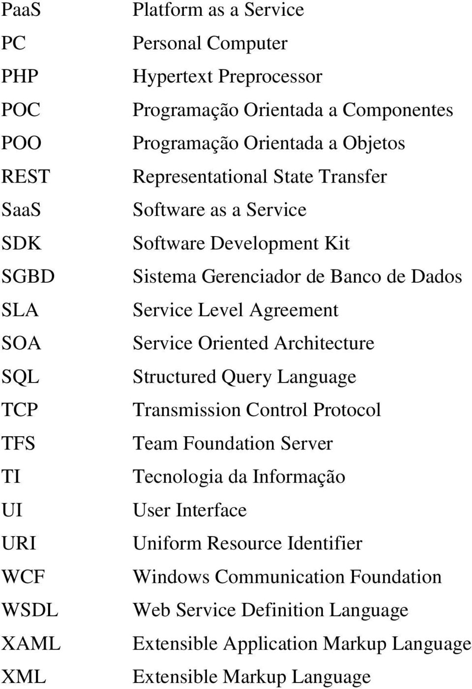 Dados Service Level Agreement Service Oriented Architecture Structured Query Language Transmission Control Protocol Team Foundation Server Tecnologia da Informação