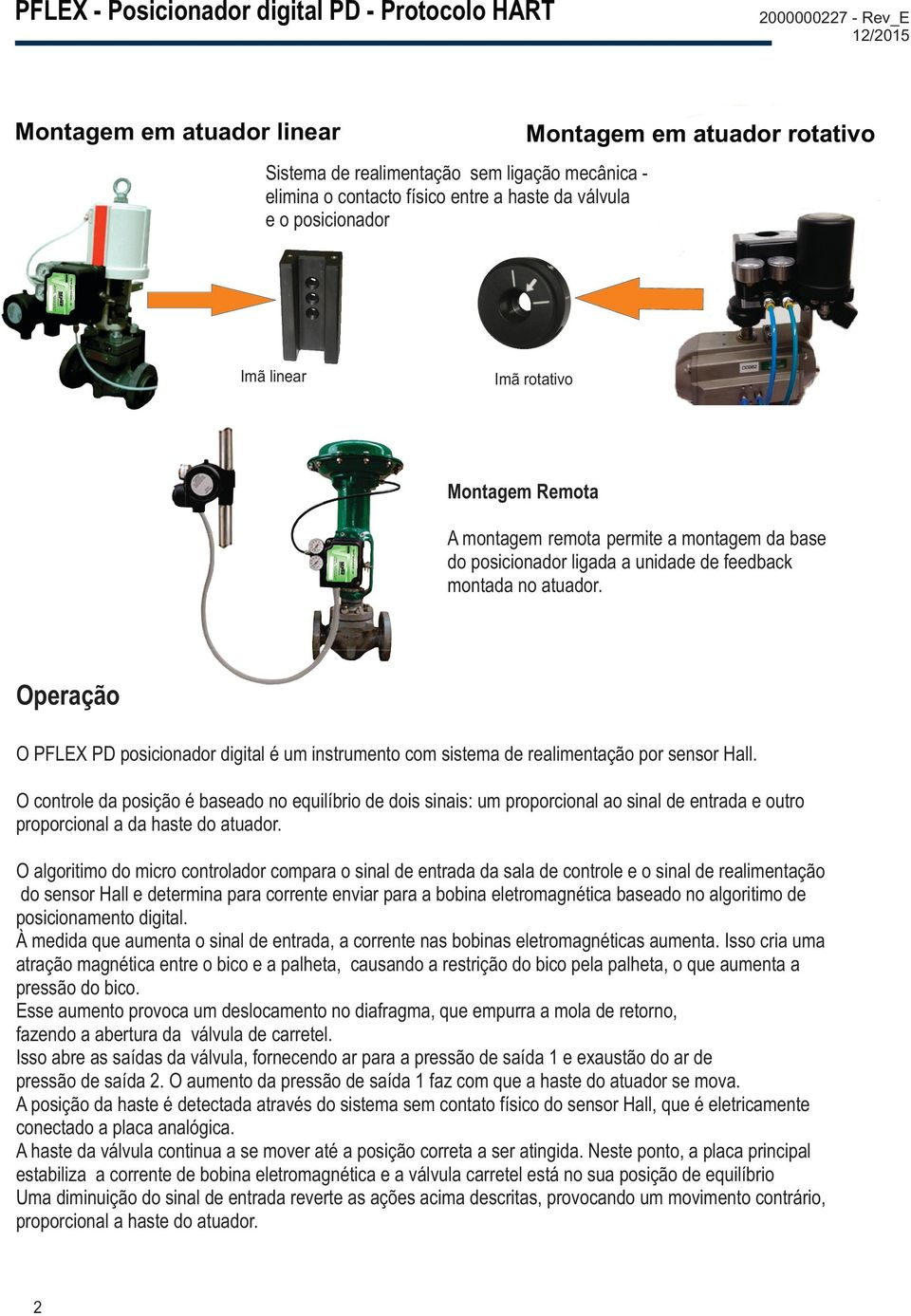 Montagem Remota Ambient temperature: -40 to +85ºC Supply pressure: 40 to 150 psi Sensors & Instruments Input: 4-20mA (20mA / 550 ohms) Digital Valve Positioner - PD A montagem remota permite a