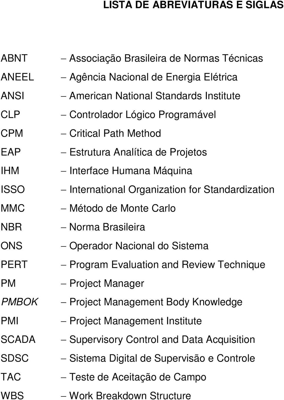 Organization for Standardization Método de Monte Carlo Norma Brasileira Operador Nacional do Sistema Program Evaluation and Review Technique Project Manager Project Management
