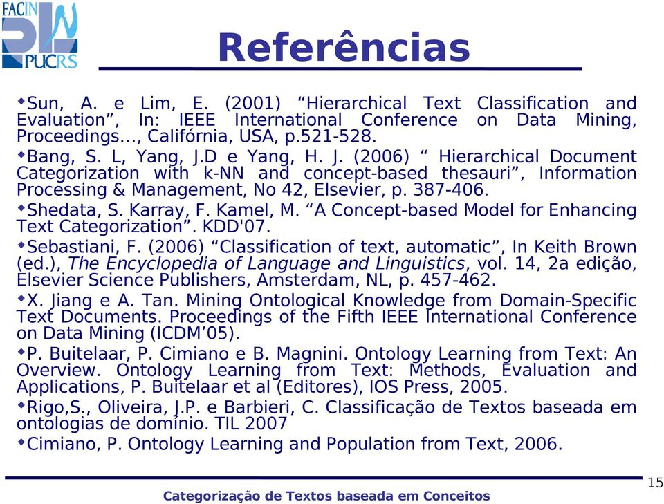 A Concept-based Model for Enhancing Text Categorization. KDD'07. Sebastiani, F. (2006) Classification of text, automatic, In Keith Brown (ed.), The Encyclopedia of Language and Linguistics, vol.
