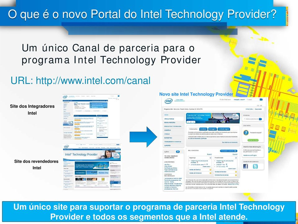 com/canal Novo site Intel Technology Provider Site dos Integradores Intel Site dos