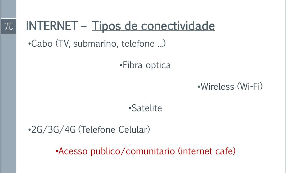 ..) Fibra optica Wireless (Wi-Fi) Satelite