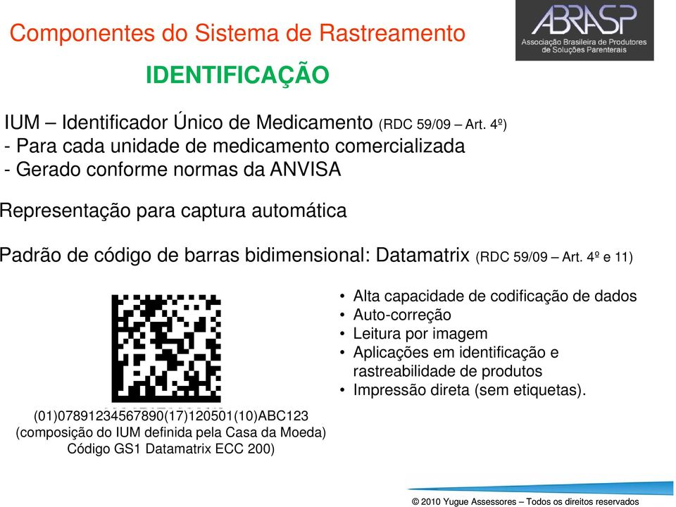 barras bidimensional: Datamatrix (RDC 59/09 Art.