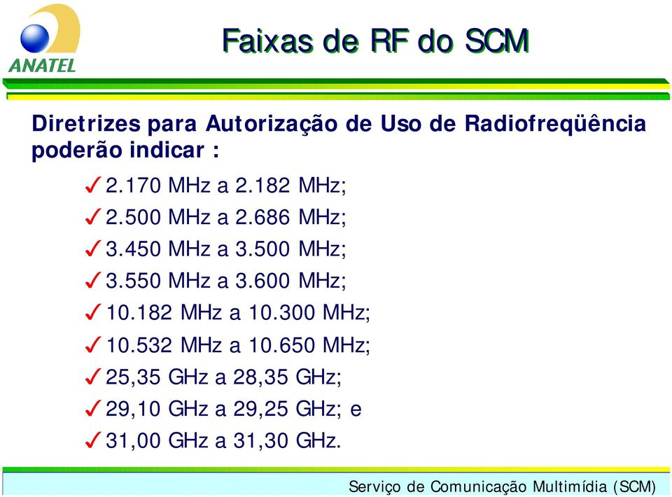 450 MHz a 3.500 MHz; 3.550 MHz a 3.600 MHz; 10.182 MHz a 10.300 MHz; 10.