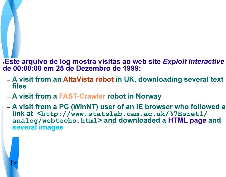 FAST-Crawler robot in Norway A visit from a PC (WinNT) user of an IE browser who followed a link at