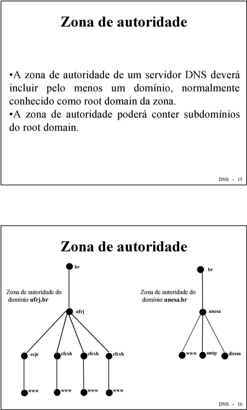 A zona de autoridade poderá conter subdomínios do root domain.