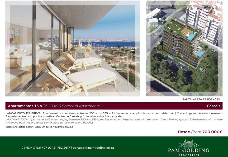 próximo do centro, Marina, praias LAUCHING SOON: Apartments with areas ranging between 200 and 385 sqm Balconies and large terraces with