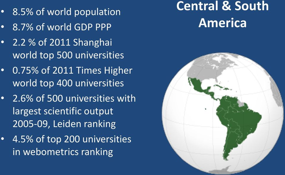 75% of 2011 Times Higher world top 400 universities 2.