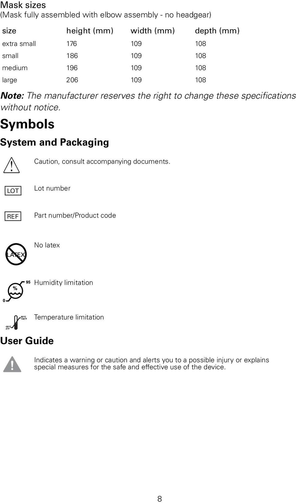 Symbols System and Packaging Caution, consult accompanying documents.