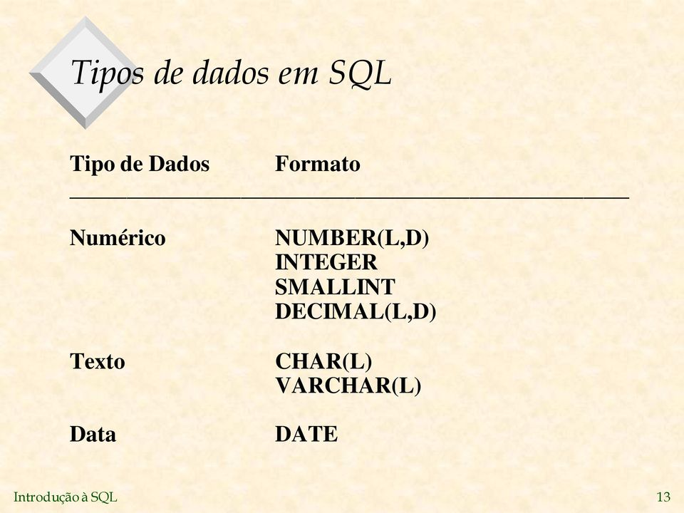 NUMBER(L,D) INTEGER SMALLINT