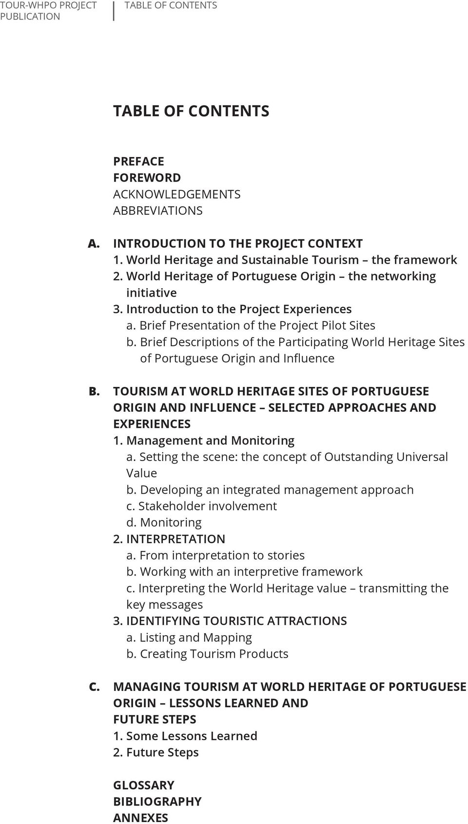 brief Descriptions of the Participating World Heritage Sites of Portuguese Origin and Influence Tourism at World Heritage Sites of Portuguese Origin and Influence selected approaches and experiences