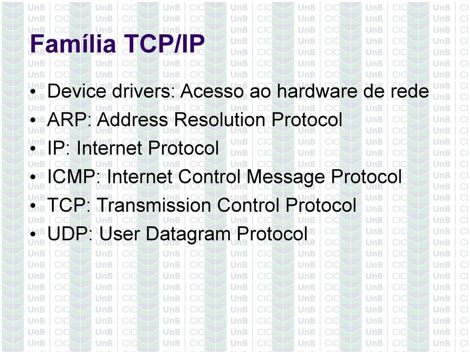 Protocol ICMP: Internet Control Message Protocol TCP: