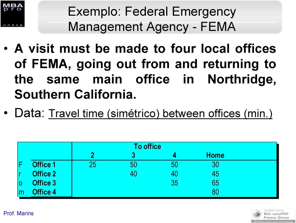 California. Data: Travel time (simétrico) between offices (min.