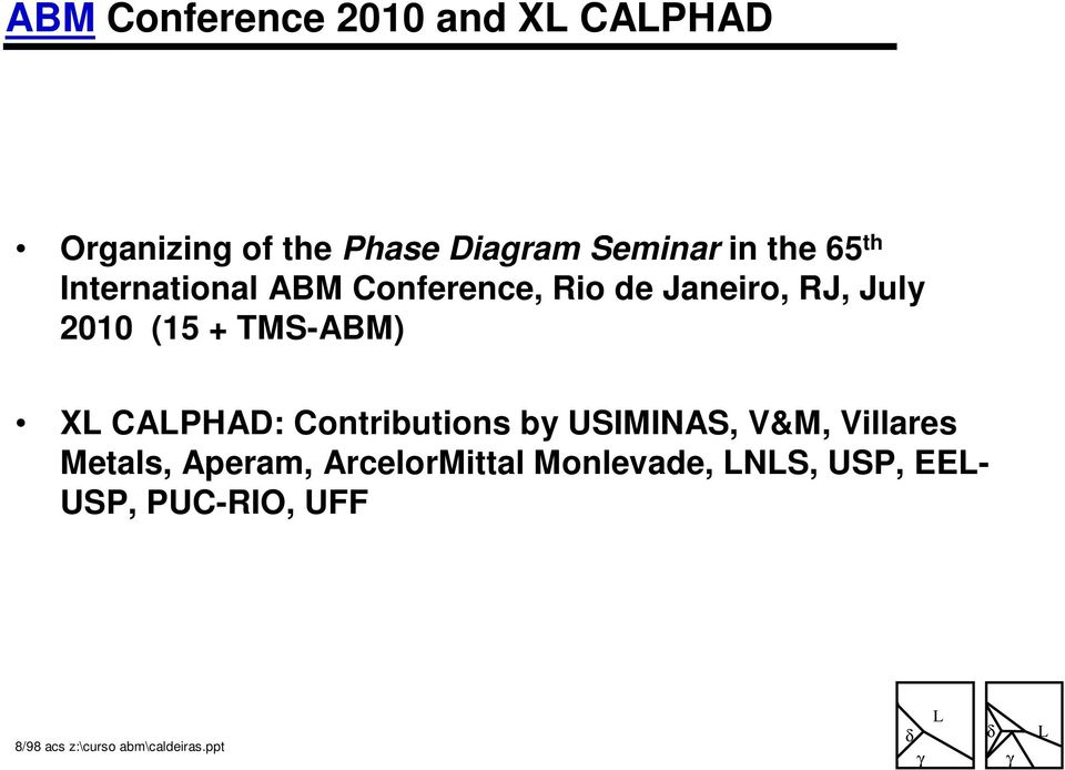 July 2010 (15 + TMS-ABM) X CAPHAD: Contributions by USIMINAS, V&M,