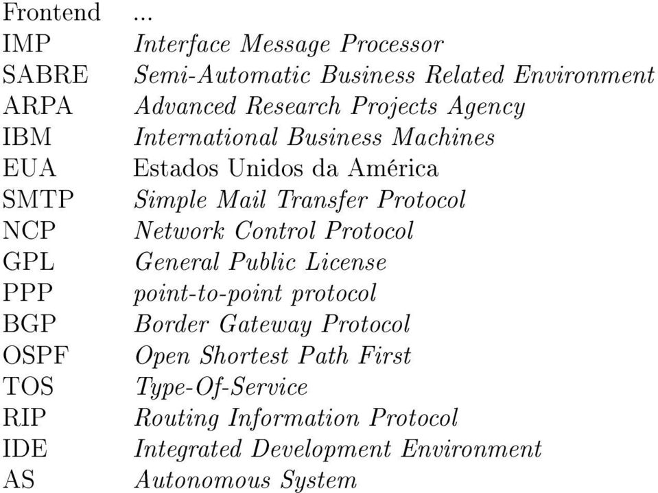 Agency IBM International Business Machines EUA Estados Unidos da América SMTP Simple Mail Transfer Protocol NCP Network