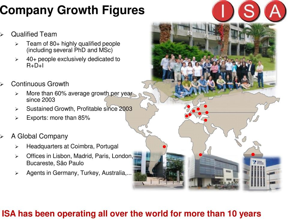 Profitable since 2003 Exports: more than 85% A Global Company Headquarters at Coimbra, Portugal Offices in Lisbon, Madrid,
