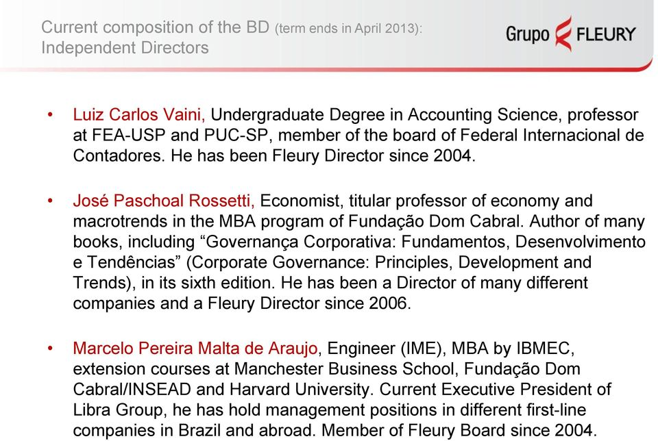Author of many books, including Governança Corporativa: Fundamentos, Desenvolvimento e Tendências (Corporate Governance: Principles, Development and Trends), in its sixth edition.