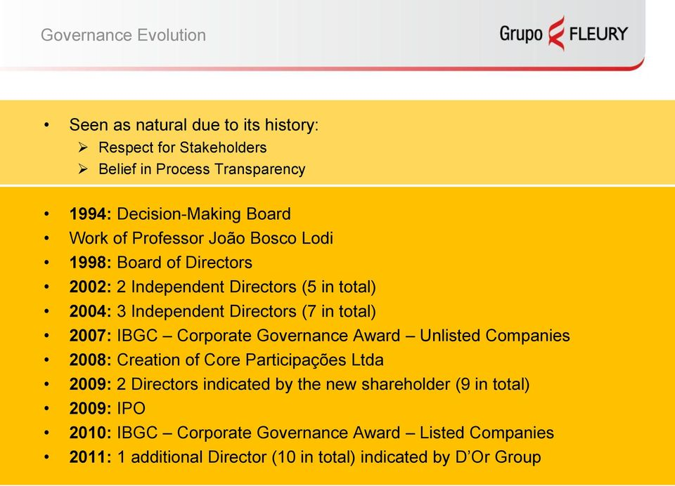 2007: IBGC Corporate Governance Award Unlisted Companies 2008: Creation of Core Participações Ltda 2009: 2 Directors indicated by the new
