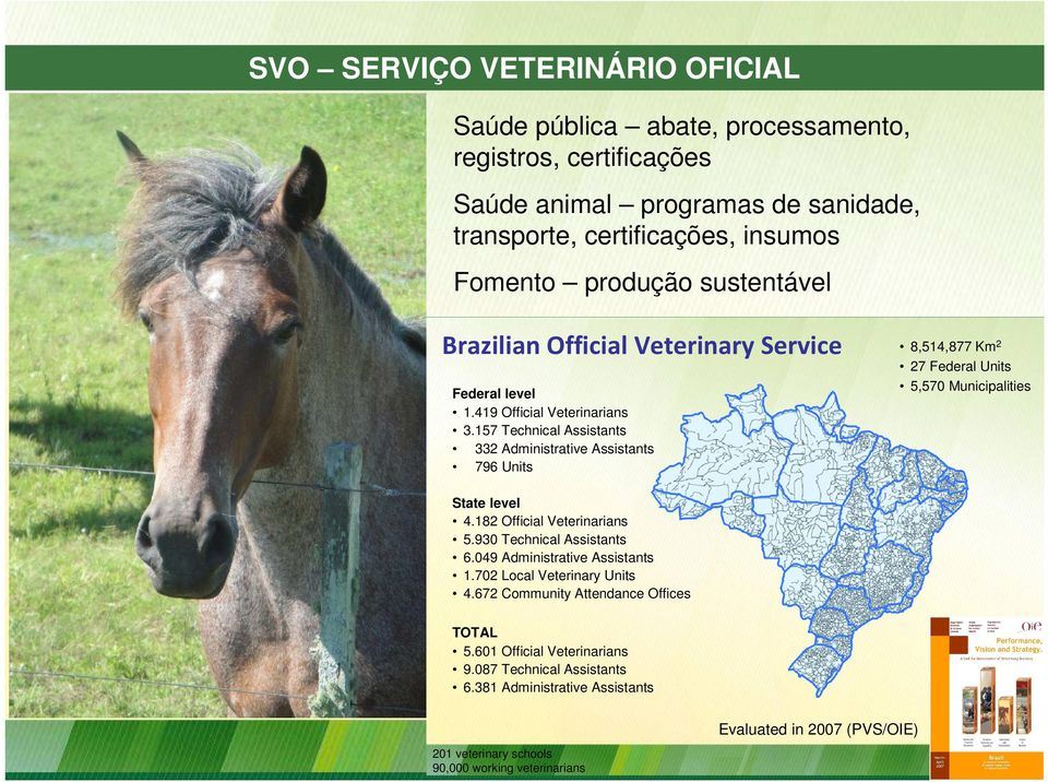 157 Technical Assistants 332 Administrative Assistants 796 Units 8,514,877 Km2 27 Federal Units 5,570 Municipalities State level 4.182 Official Veterinarians 5.