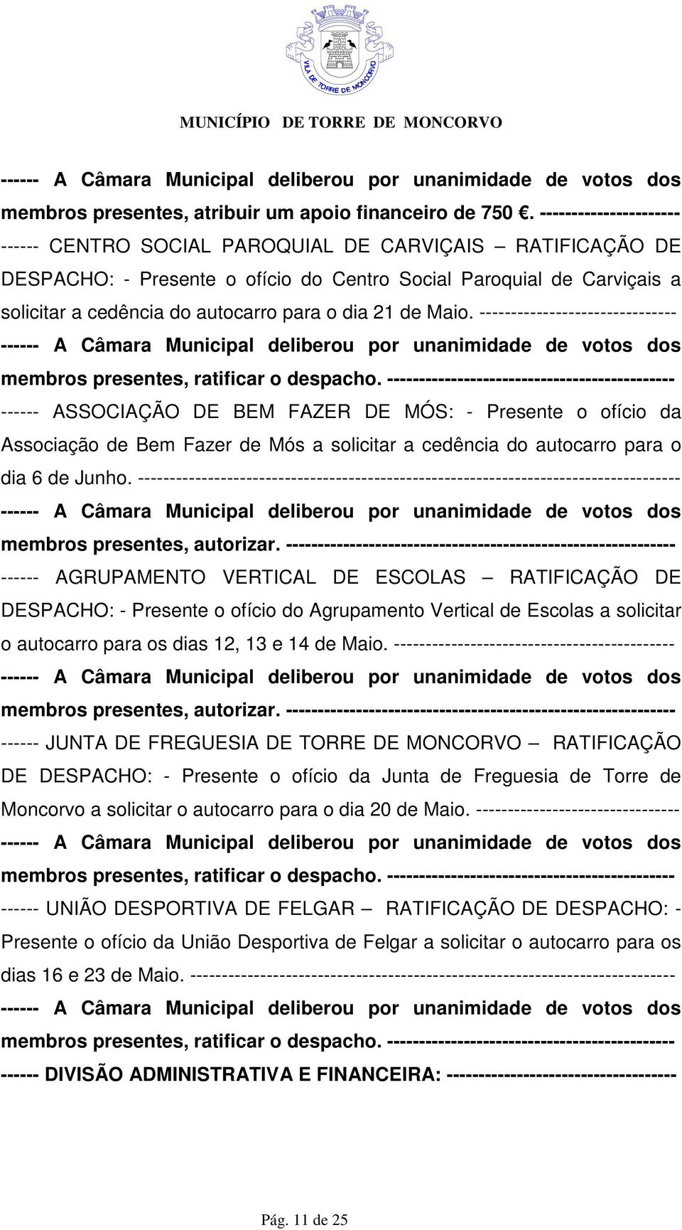 21 de Maio. ------------------------------- membros presentes, ratificar o despacho.