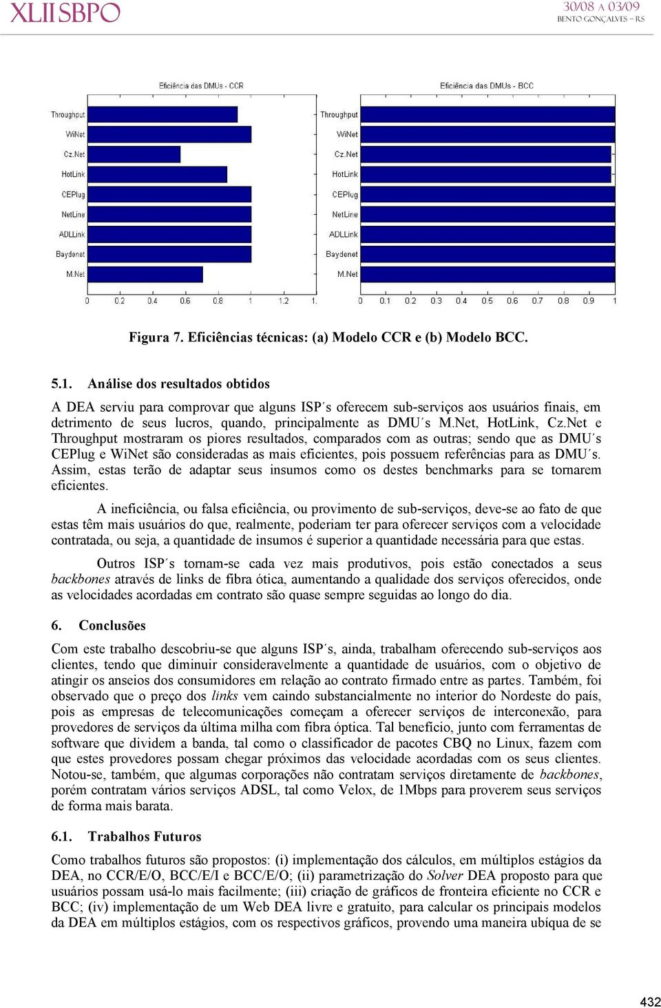 Net e Throughput mostraram os piores resultados, comparados com as outras; sendo que as DMU s CEPlug e WiNet são consideradas as mais eficientes, pois possuem referências para as DMU s.