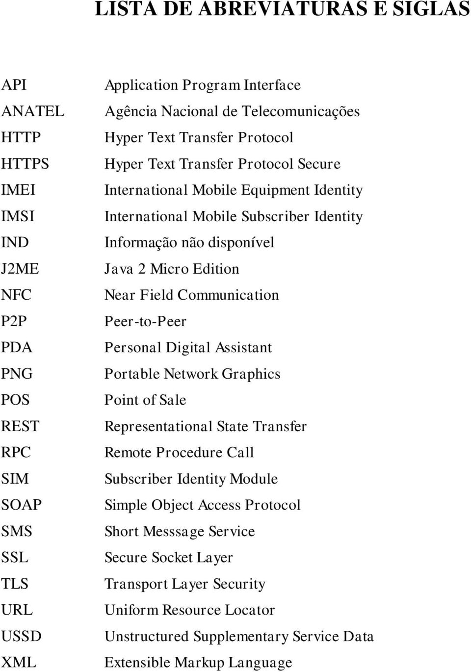 Java 2 Micro Edition Near Field Communication Peer-to-Peer Personal Digital Assistant Portable Network Graphics Point of Sale Representational State Transfer Remote Procedure Call Subscriber