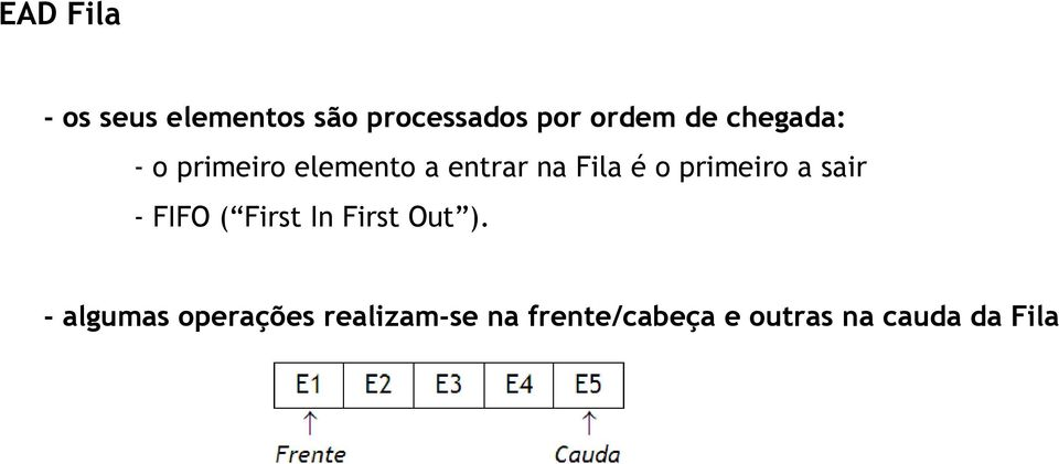 primeiro a sair - FIFO ( First In First Out ).