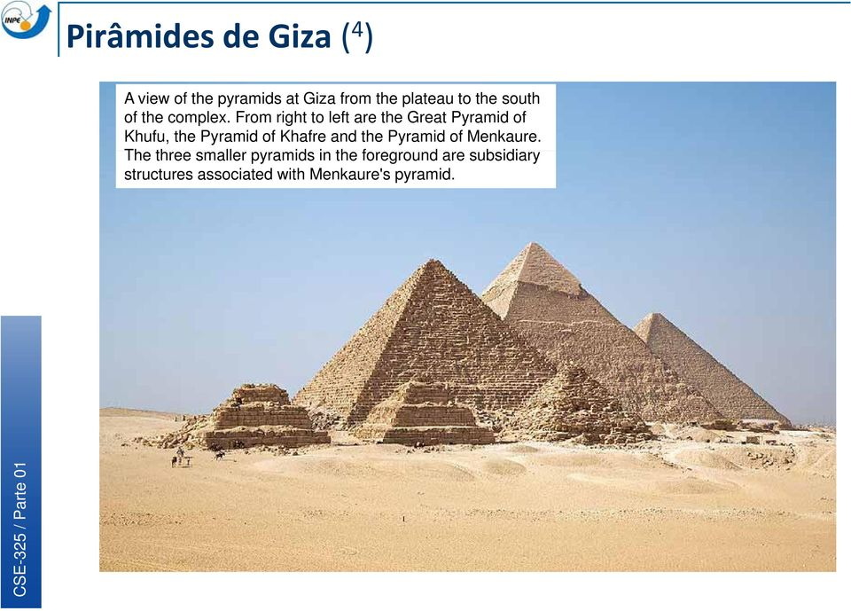 From right to left are the Great Pyramid of Khufu, the Pyramid of Khafre and