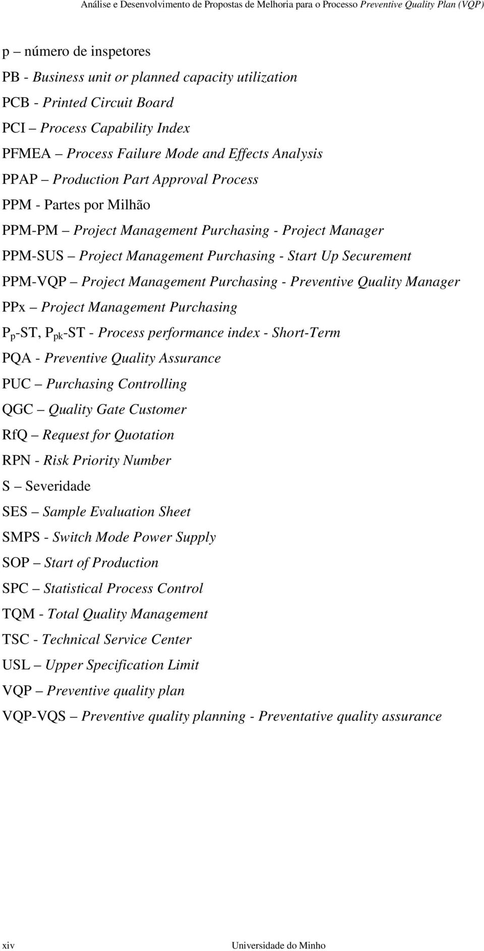 Preventive Quality Manager PPx Project Management Purchasing P p -ST, P pk -ST - Process performance index - Short-Term PQA - Preventive Quality Assurance PUC Purchasing Controlling QGC Quality Gate