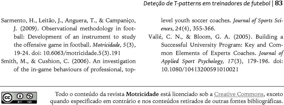 (2006). An investigation of the in-game behaviours of professional, toplevel youth soccer coaches. Journal of Sports Sciences, 24(4), 355-366. Vallé, C. N., & Bloom, G. A. (2005).