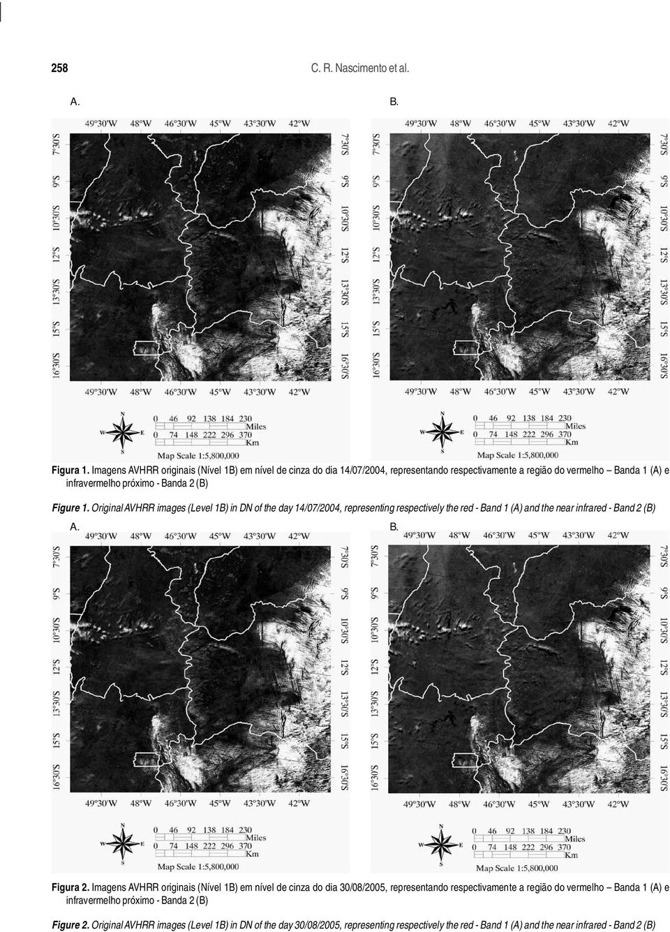 Figure. Original AVHRR images (Level B) in DN of the day 4/07/2004, representing respectively the red - Band (A) and the near infrared - Band 2 (B) A. B. Figura 2.