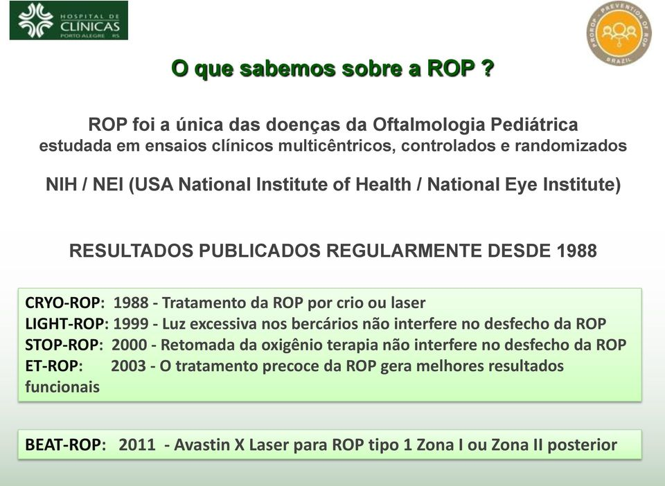 Institute of Health / National Eye Institute) RESULTADOS PUBLICADOS REGULARMENTE DESDE 1988 CRYO-ROP: 1988 - Tratamento da ROP por crio ou laser LIGHT-ROP: