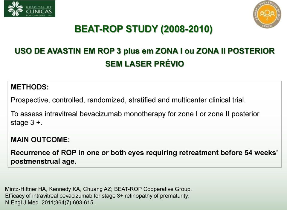 To assess intravitreal bevacizumab monotherapy for zone I or zone II posterior stage 3 +.