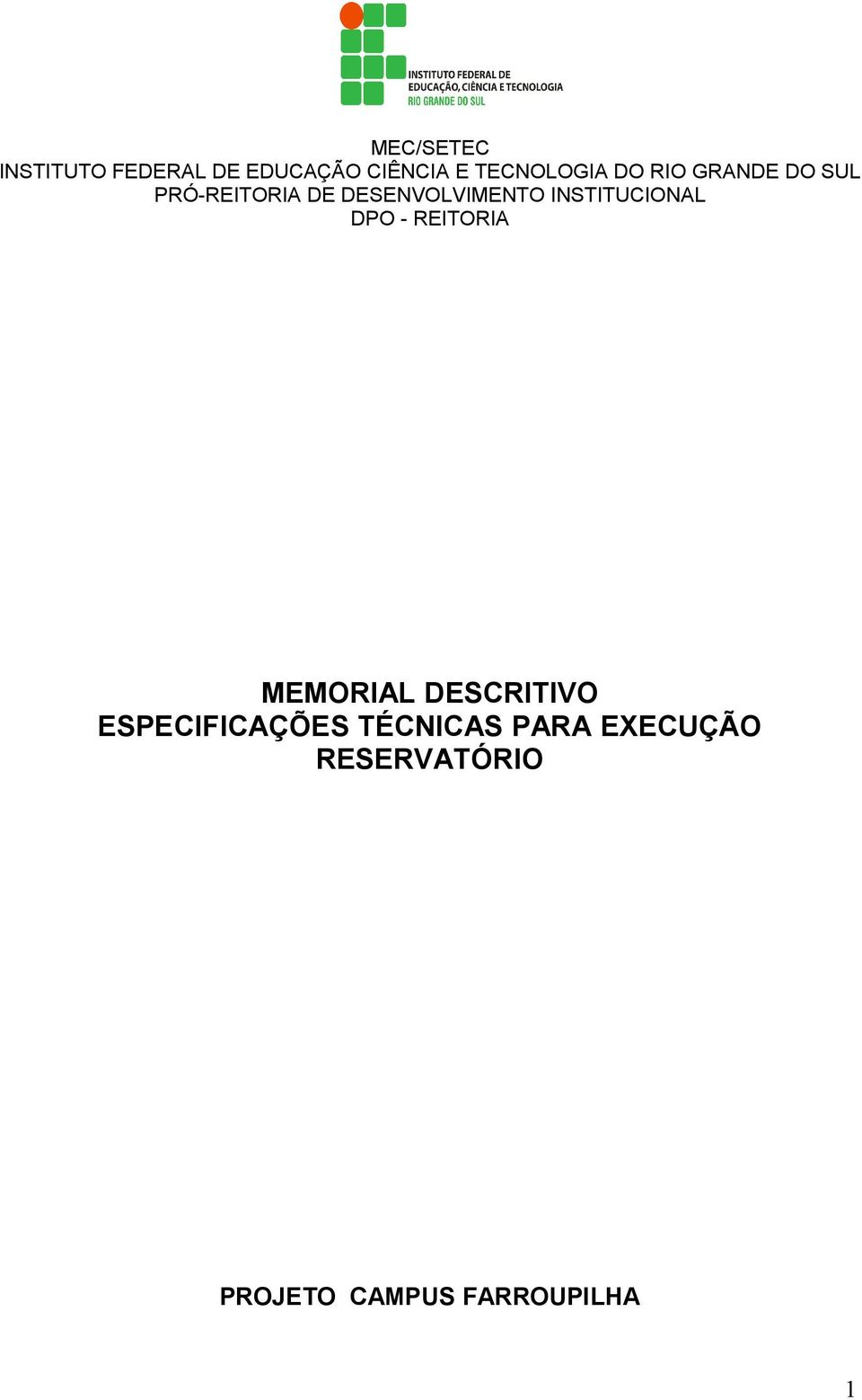 INSTITUCIONAL DPO - REITORIA MEMORIAL DESCRITIVO