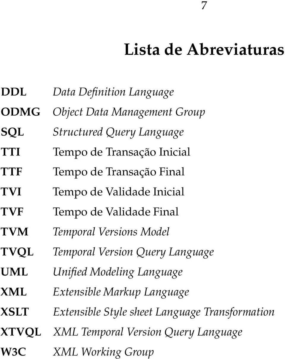 Inicial Tempo de Validade Final Temporal Versions Model Temporal Version Query Language Unified Modeling Language