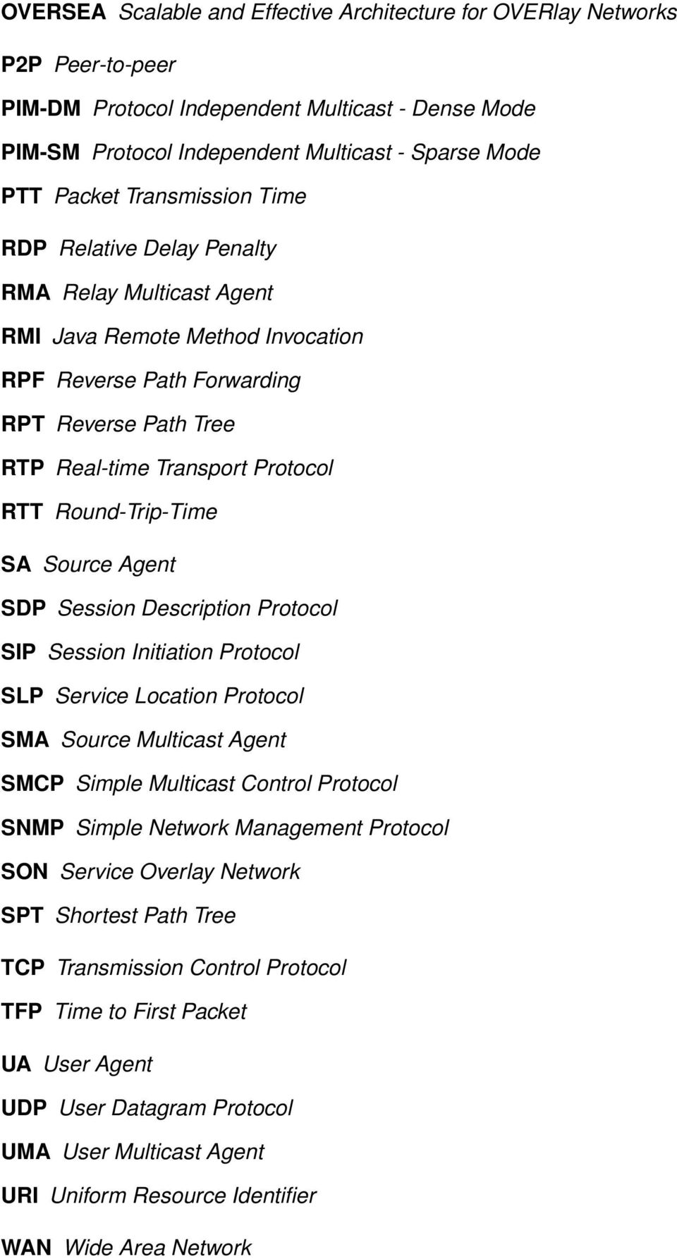 Round-Trip-Time SA Source Agent SDP Session Description Protocol SIP Session Initiation Protocol SLP Service Location Protocol SMA Source Multicast Agent SMCP Simple Multicast Control Protocol SNMP