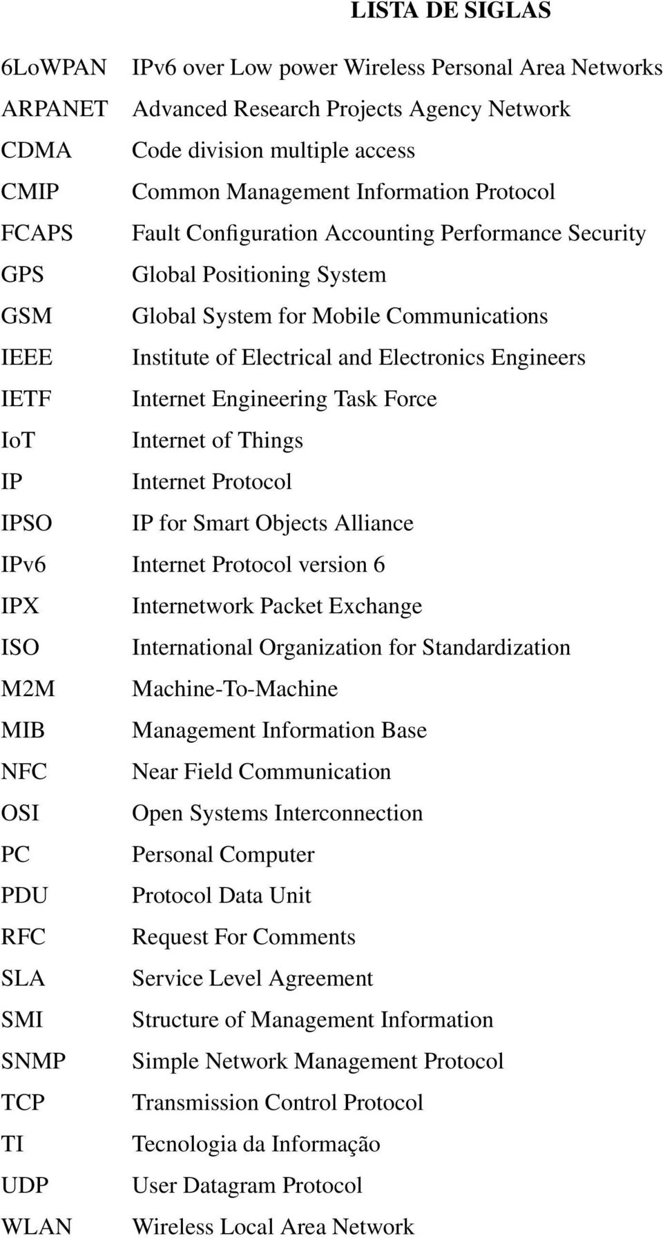 IETF Internet Engineering Task Force IoT Internet of Things IP Internet Protocol IPSO IP for Smart Objects Alliance IPv6 Internet Protocol version 6 IPX Internetwork Packet Exchange ISO International