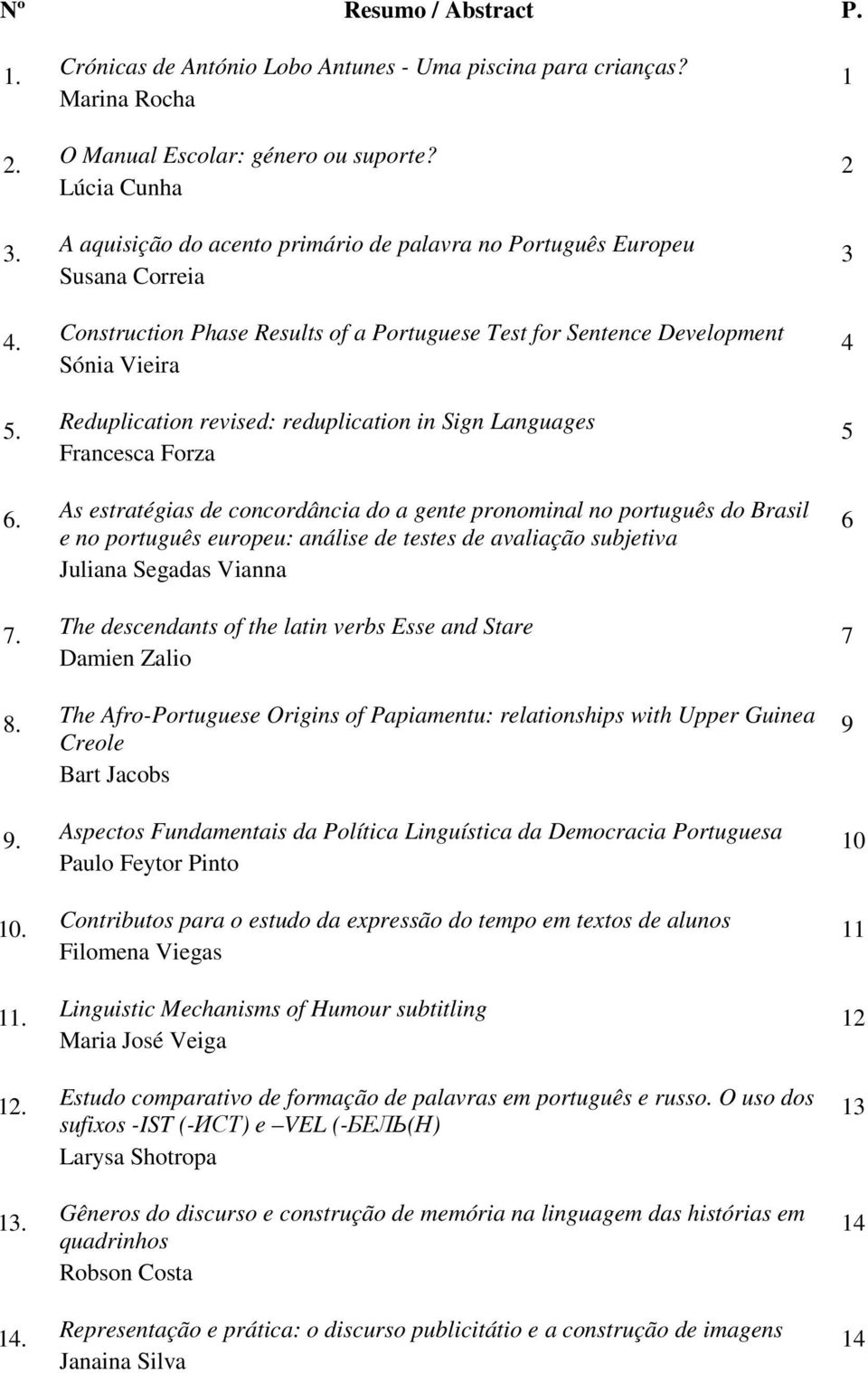 reduplication in Sign Languages Francesca Forza As estratégias de concordância do a gente pronominal no português do Brasil e no português europeu: análise de testes de avaliação subjetiva Juliana