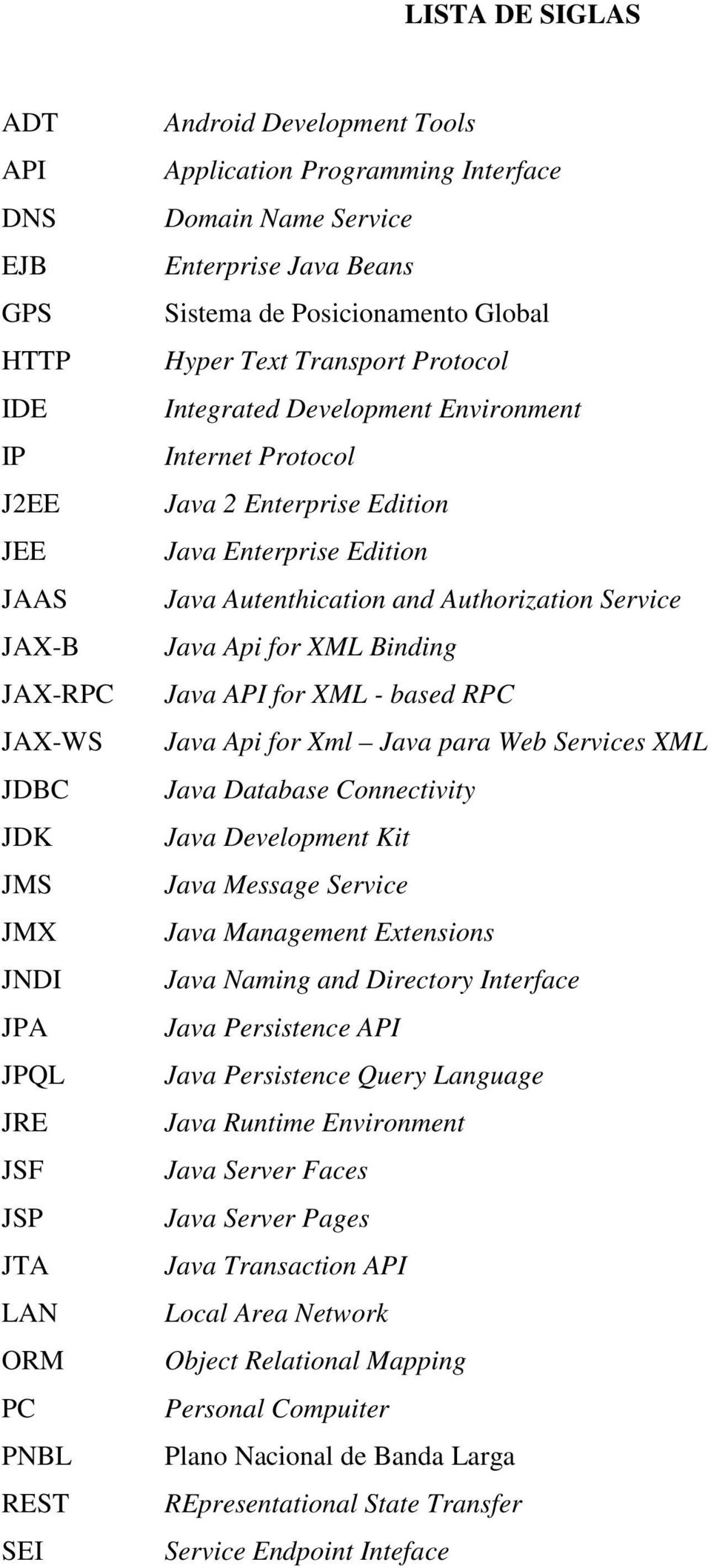 Edition Java Enterprise Edition Java Autenthication and Authorization Service Java Api for XML Binding Java API for XML - based RPC Java Api for Xml Java para Web Services XML Java Database