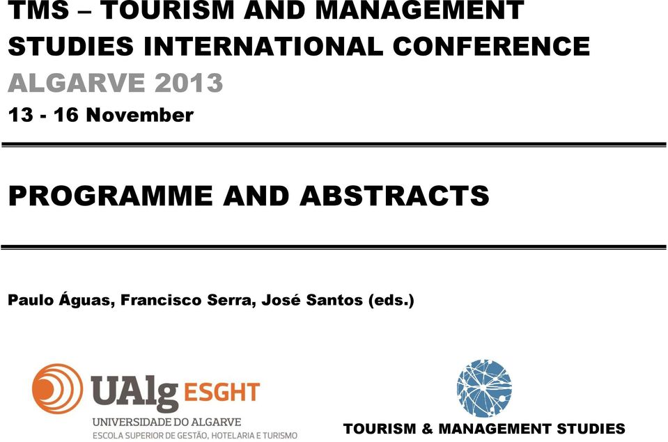 November PROGRAMME AND ABSTRACTS Paulo Águas,