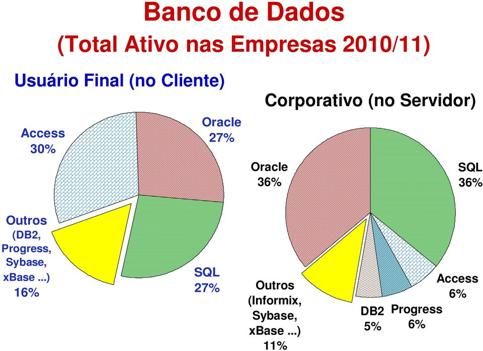 Oracle 36% SQL 36% Outros (DB2, Progress, Sybase, xbase.