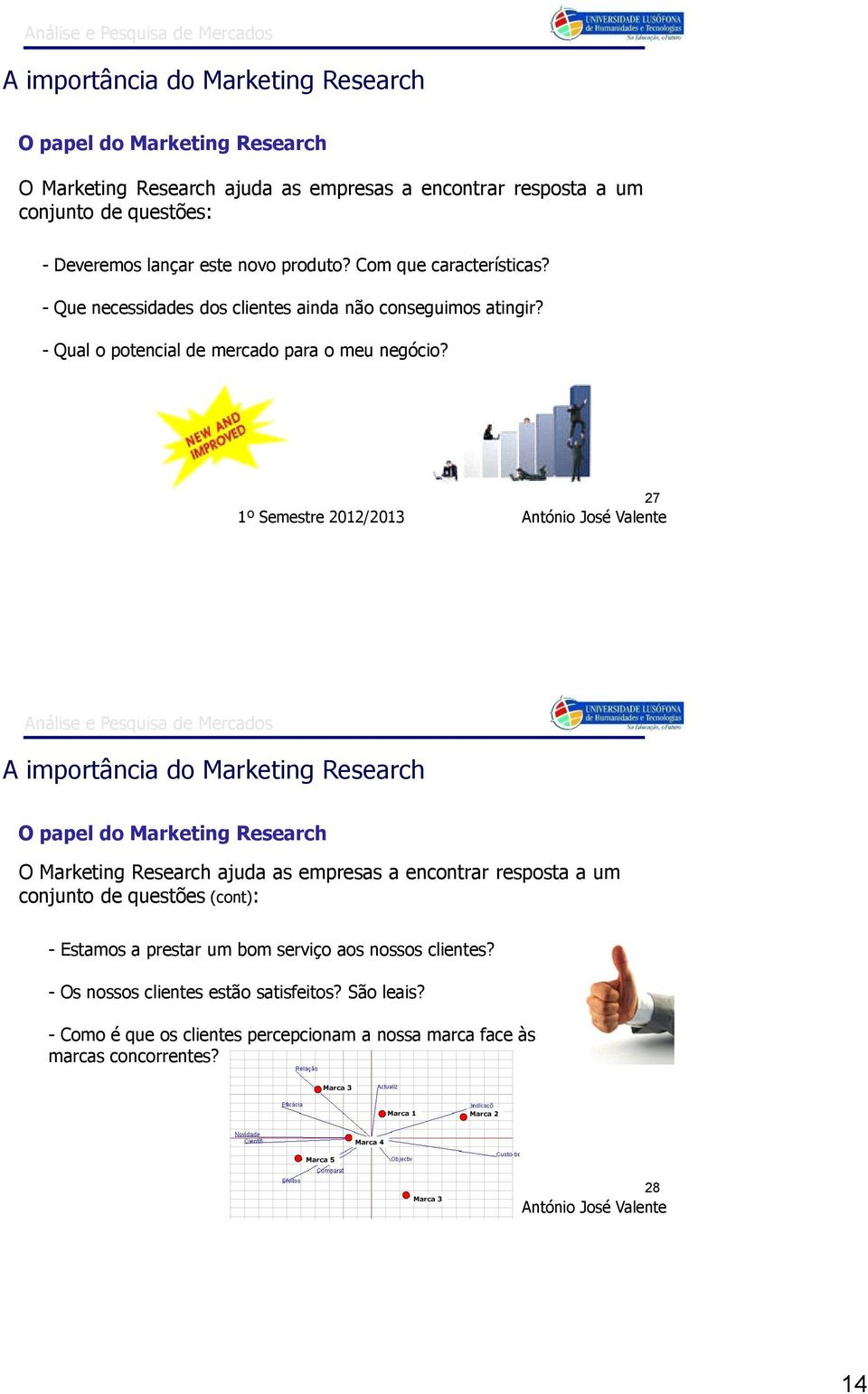 27 A importância do Marketing Research O papel do Marketing Research O Marketing Research ajuda as empresas a encontrar resposta a um conjunto de questões (cont): - Estamos a prestar