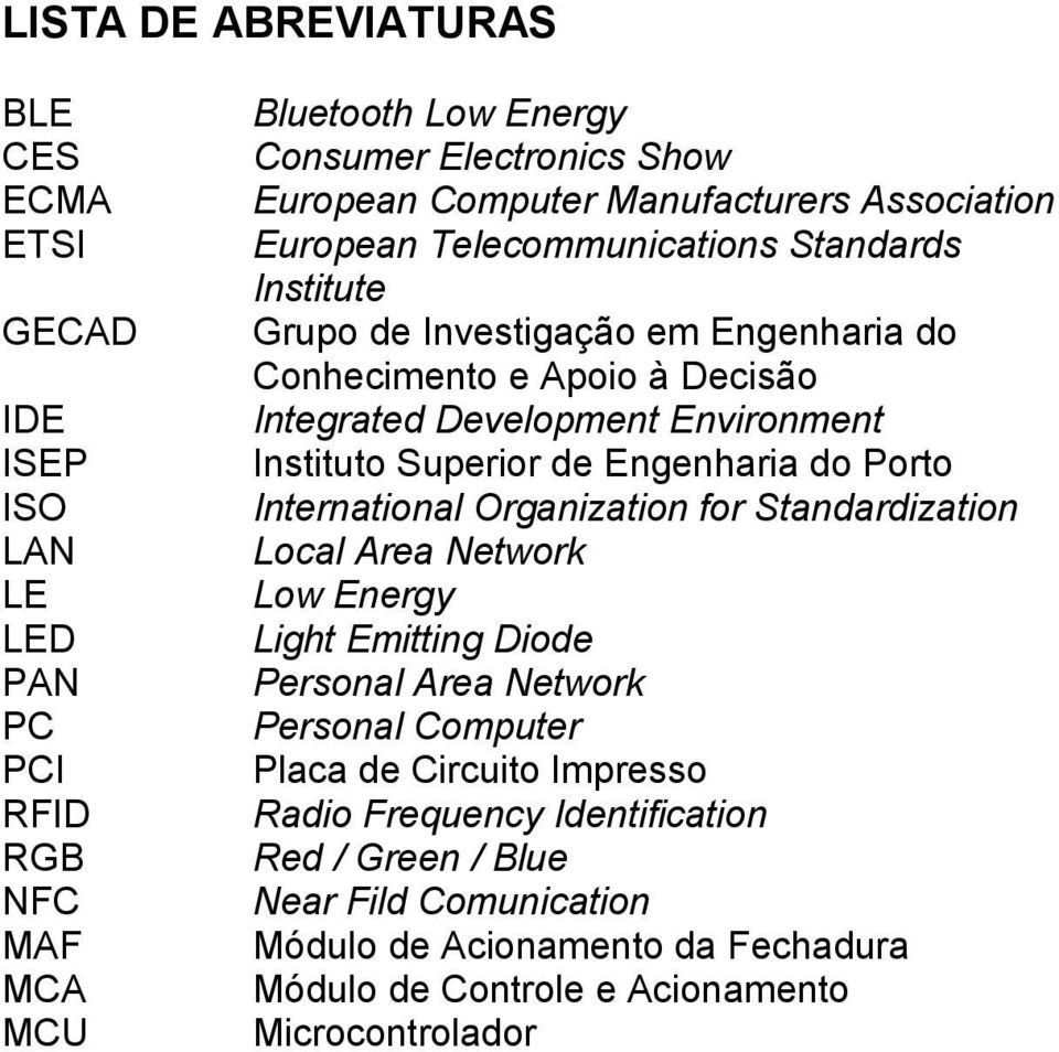 Instituto Superior de Engenharia do Porto International Organization for Standardization Local Area Network Low Energy Light Emitting Diode Personal Area Network Personal